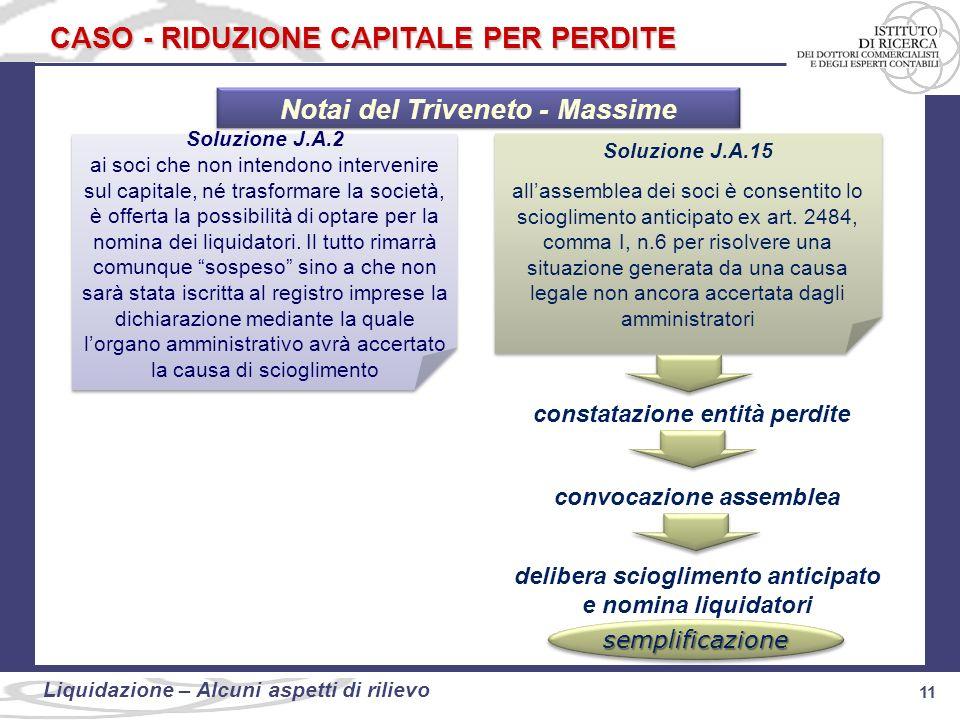 11 Liquidazione: alcuni aspetti di rilievo 11 Liquidazione – Alcuni aspetti di rilievo CASO - RIDUZIONE CAPITALE PER PERDITE Soluzione J.A.2 ai soci c