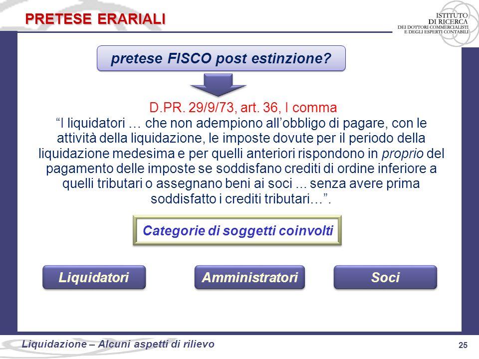 25 Liquidazione: alcuni aspetti di rilievo 25 Liquidazione – Alcuni aspetti di rilievo PRETESE ERARIALI pretese FISCO post estinzione? D.PR. 29/9/73,