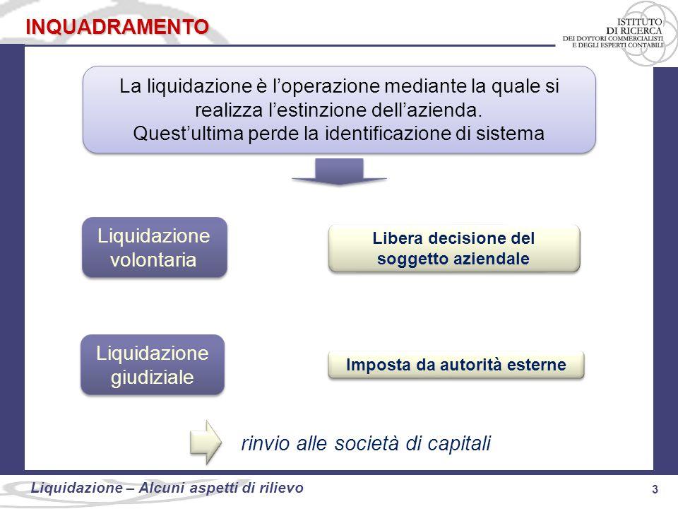 3 Liquidazione: alcuni aspetti di rilievo 3 Liquidazione – Alcuni aspetti di rilievo INQUADRAMENTO La liquidazione è loperazione mediante la quale si