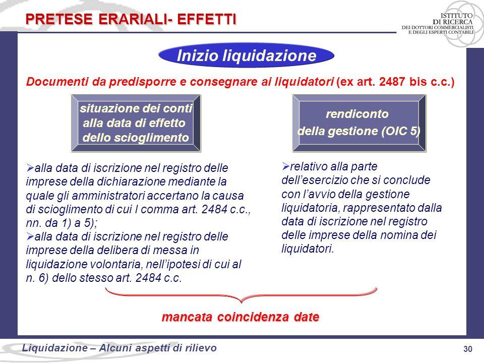 30 Liquidazione: alcuni aspetti di rilievo 30 Liquidazione – Alcuni aspetti di rilievo PRETESE ERARIALI- EFFETTI Documenti da predisporre e consegnare