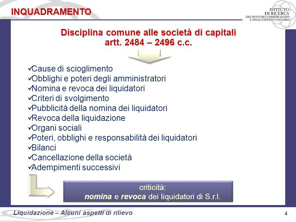 4 Liquidazione: alcuni aspetti di rilievo 4 Liquidazione – Alcuni aspetti di rilievo INQUADRAMENTO Disciplina comune alle società di capitali artt. 24