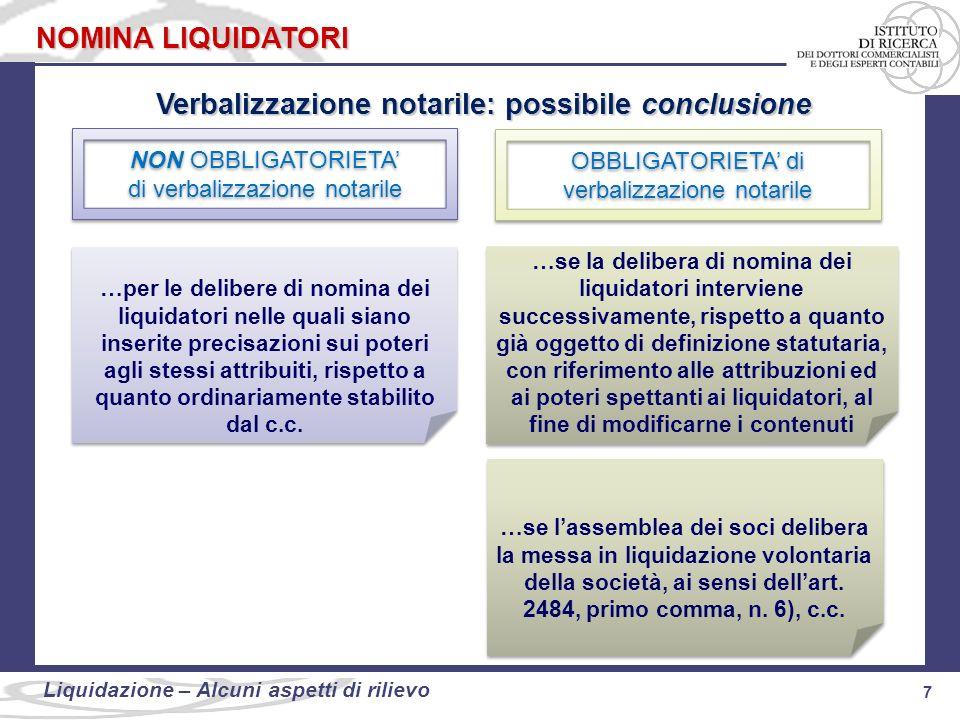 7 Liquidazione: alcuni aspetti di rilievo 7 Liquidazione – Alcuni aspetti di rilievo NOMINA LIQUIDATORI Verbalizzazione notarile: possibile conclusion
