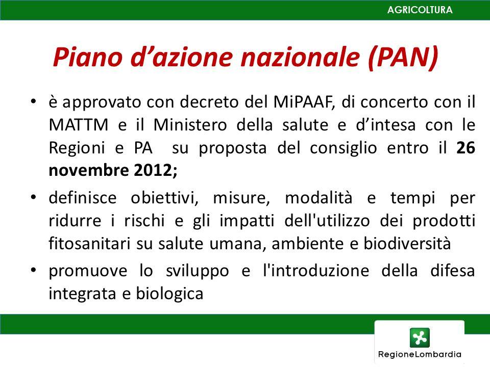 Piano dazione nazionale (PAN) è approvato con decreto del MiPAAF, di concerto con il MATTM e il Ministero della salute e dintesa con le Regioni e PA s