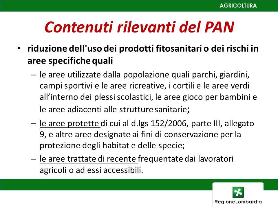 Contenuti rilevanti del PAN riduzione dell'uso dei prodotti fitosanitari o dei rischi in aree specifiche quali – le aree utilizzate dalla popolazione