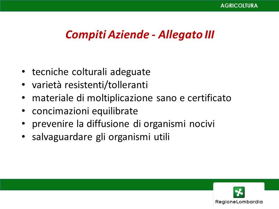Compiti Aziende - Allegato III tecniche colturali adeguate varietà resistenti/tolleranti materiale di moltiplicazione sano e certificato concimazioni