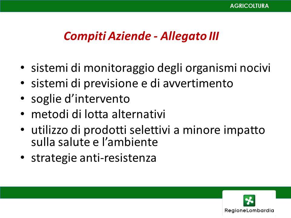 Compiti Aziende - Allegato III sistemi di monitoraggio degli organismi nocivi sistemi di previsione e di avvertimento soglie dintervento metodi di lotta alternativi utilizzo di prodotti selettivi a minore impatto sulla salute e lambiente strategie anti-resistenza