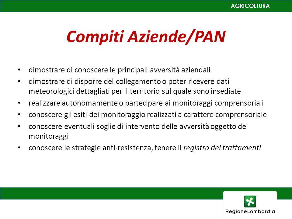 Compiti Aziende/PAN dimostrare di conoscere le principali avversità aziendali dimostrare di disporre del collegamento o poter ricevere dati meteorolog