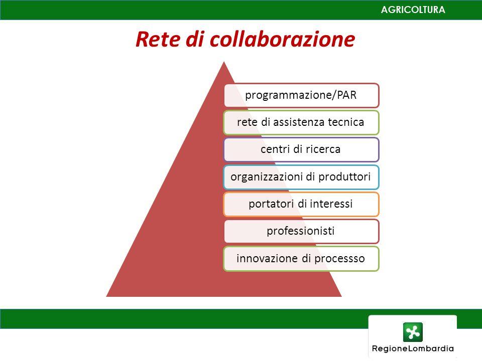 Rete di collaborazione programmazione/PARrete di assistenza tecnicacentri di ricercaorganizzazioni di produttoriportatori di interessiprofessionistiinnovazione di processso