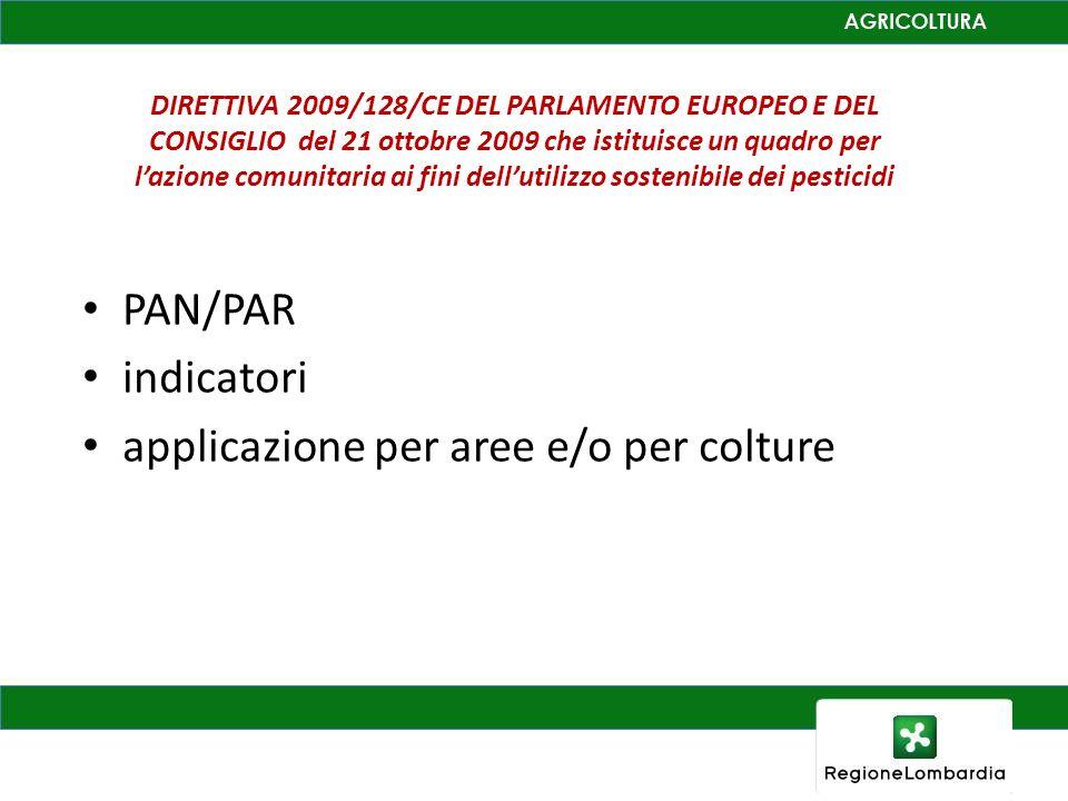 DIRETTIVA 2009/128/CE DEL PARLAMENTO EUROPEO E DEL CONSIGLIO del 21 ottobre 2009 che istituisce un quadro per lazione comunitaria ai fini dellutilizzo sostenibile dei pesticidi PAN/PAR indicatori applicazione per aree e/o per colture