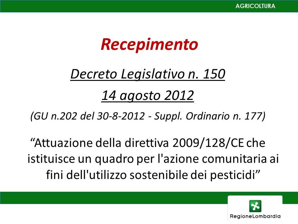 Recepimento Decreto Legislativo n. 150 14 agosto 2012 (GU n.202 del 30-8-2012 - Suppl. Ordinario n. 177) Attuazione della direttiva 2009/128/CE che is