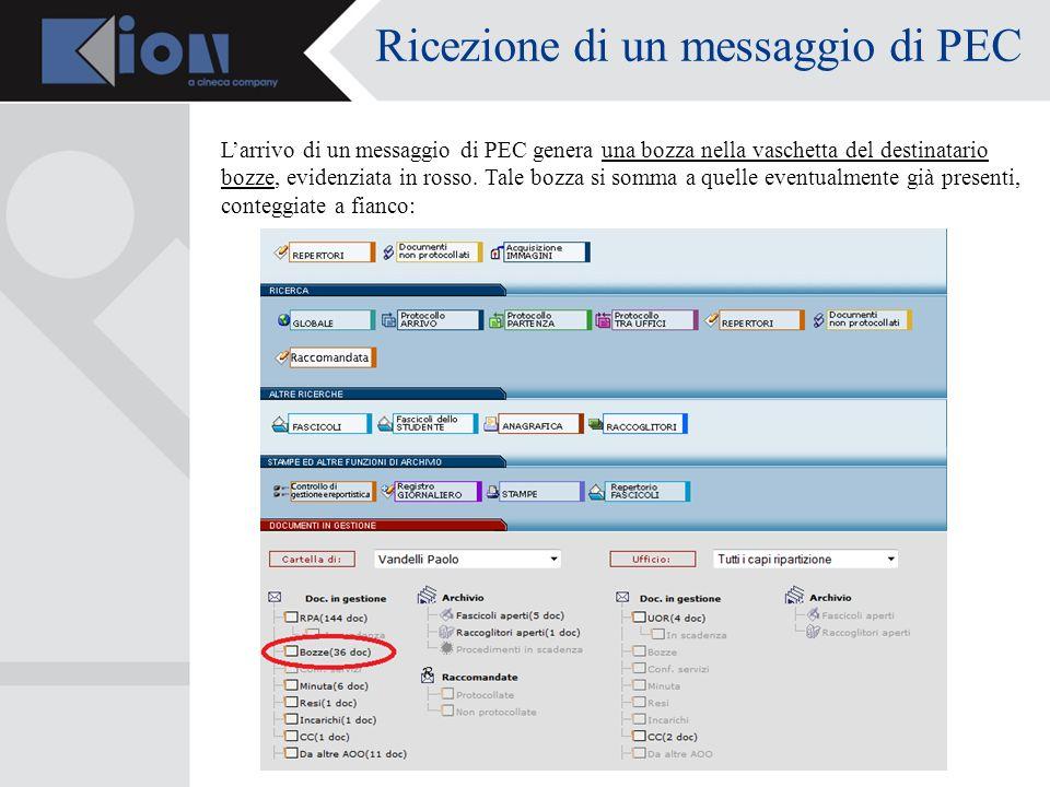 Ricezione di un messaggio di PEC Larrivo di un messaggio di PEC genera una bozza nella vaschetta del destinatario bozze, evidenziata in rosso.