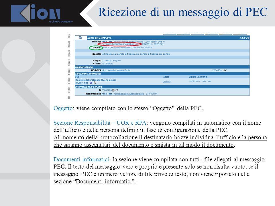 Ricezione di un messaggio di PEC Oggetto: viene compilato con lo stesso Oggetto della PEC.