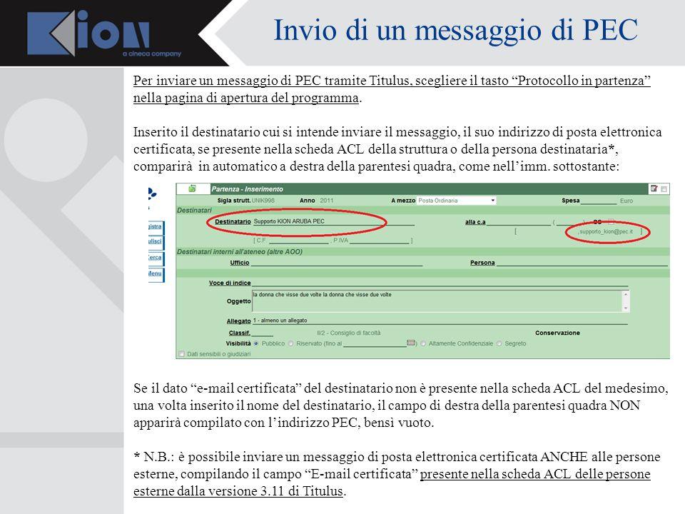 Invio di un messaggio di PEC Per inviare un messaggio di PEC tramite Titulus, scegliere il tasto Protocollo in partenza nella pagina di apertura del programma.
