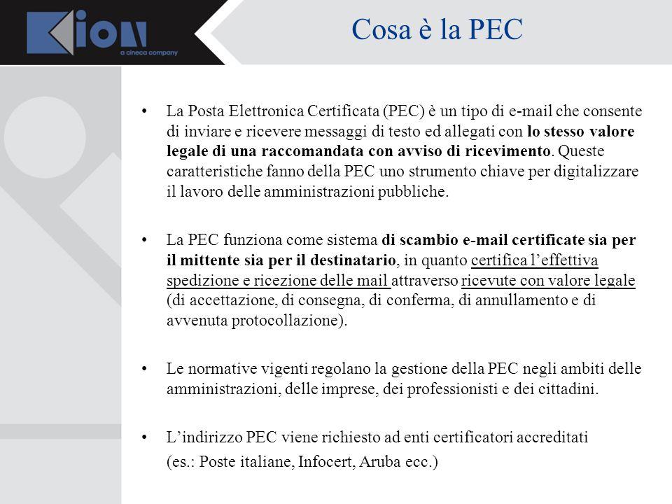 Cosa è la PEC La Posta Elettronica Certificata (PEC) è un tipo di e-mail che consente di inviare e ricevere messaggi di testo ed allegati con lo stesso valore legale di una raccomandata con avviso di ricevimento.
