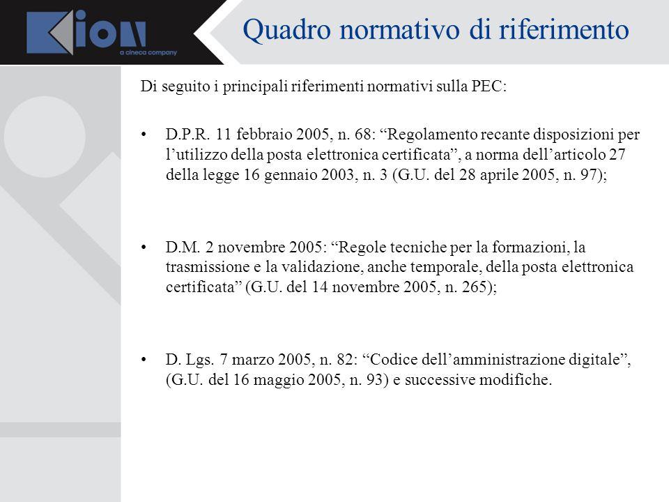 Quadro normativo di riferimento Di seguito i principali riferimenti normativi sulla PEC: D.P.R.