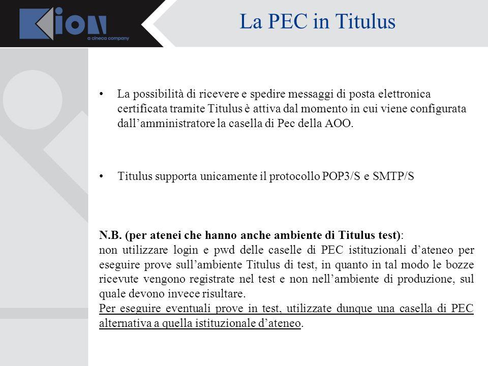 Invio di un messaggio di PEC È possibile inviare documenti via PEC direttamente da Titulus: in fase di configurazione occorre associare una casella PEC allAOO dellutente che vuole utilizzare il servizio, nelle modalità viste nelle slide n.
