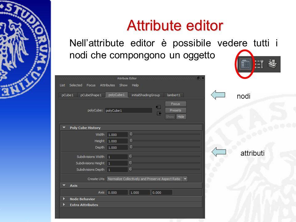 Attribute editor Nellattribute editor è possibile vedere tutti i nodi che compongono un oggetto nodi attributi