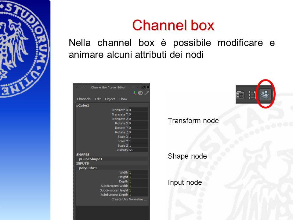 Channel box Nella channel box è possibile modificare e animare alcuni attributi dei nodi Transform node Shape node Input node