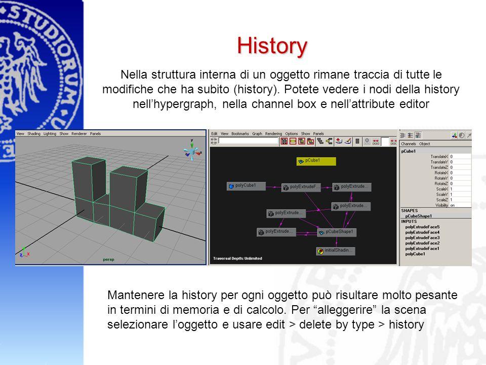 History Nella struttura interna di un oggetto rimane traccia di tutte le modifiche che ha subito (history).