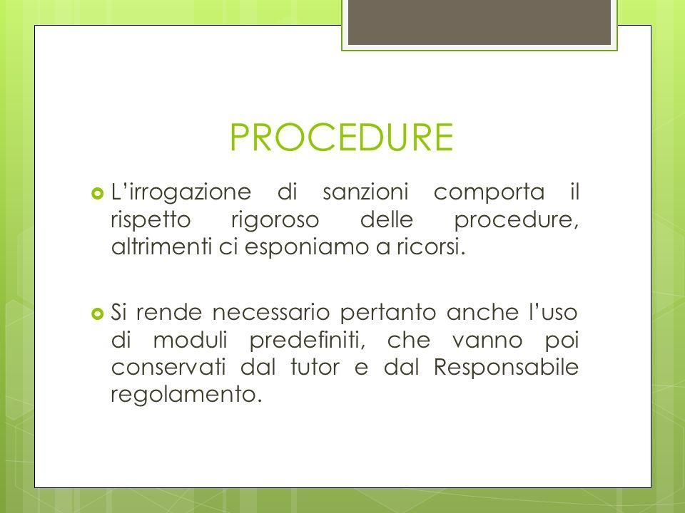 PROCEDURE Lirrogazione di sanzioni comporta il rispetto rigoroso delle procedure, altrimenti ci esponiamo a ricorsi. Si rende necessario pertanto anch