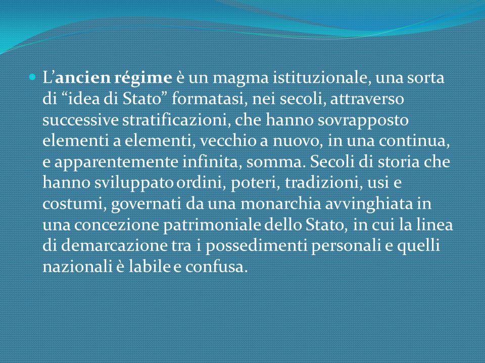 Lancien régime è un magma istituzionale, una sorta di idea di Stato formatasi, nei secoli, attraverso successive stratificazioni, che hanno sovrapposto elementi a elementi, vecchio a nuovo, in una continua, e apparentemente infinita, somma.