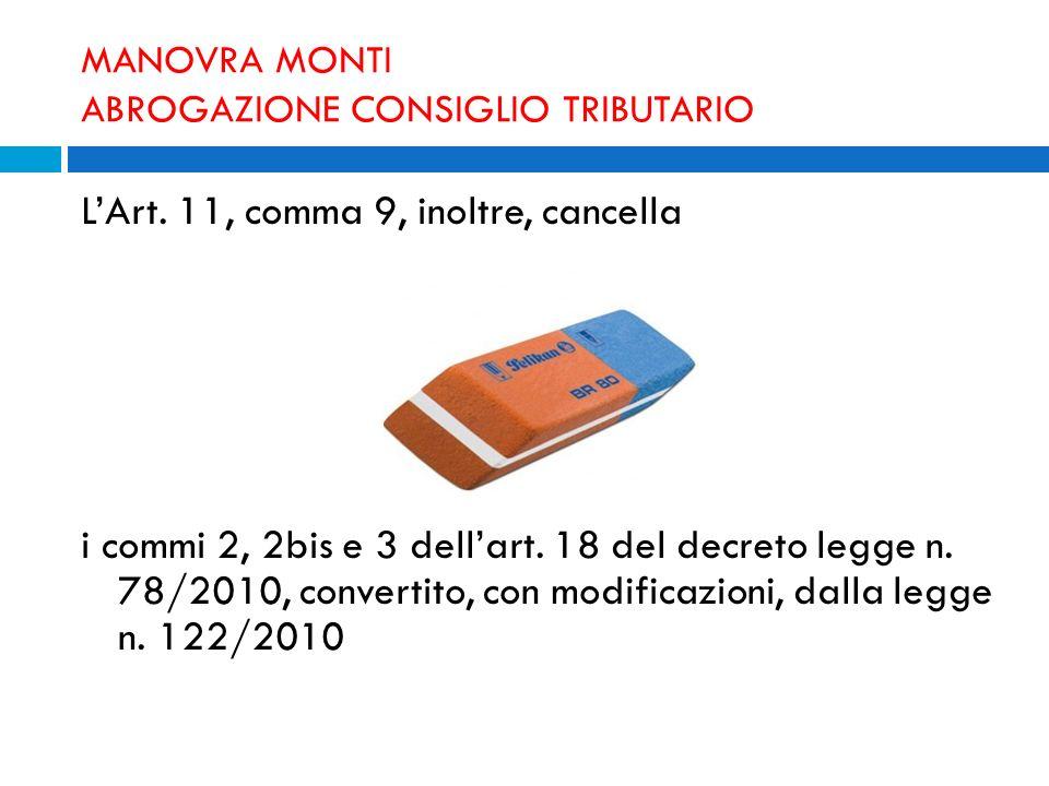MANOVRA MONTI ABROGAZIONE CONSIGLIO TRIBUTARIO LArt. 11, comma 9, inoltre, cancella i commi 2, 2bis e 3 dellart. 18 del decreto legge n. 78/2010, conv