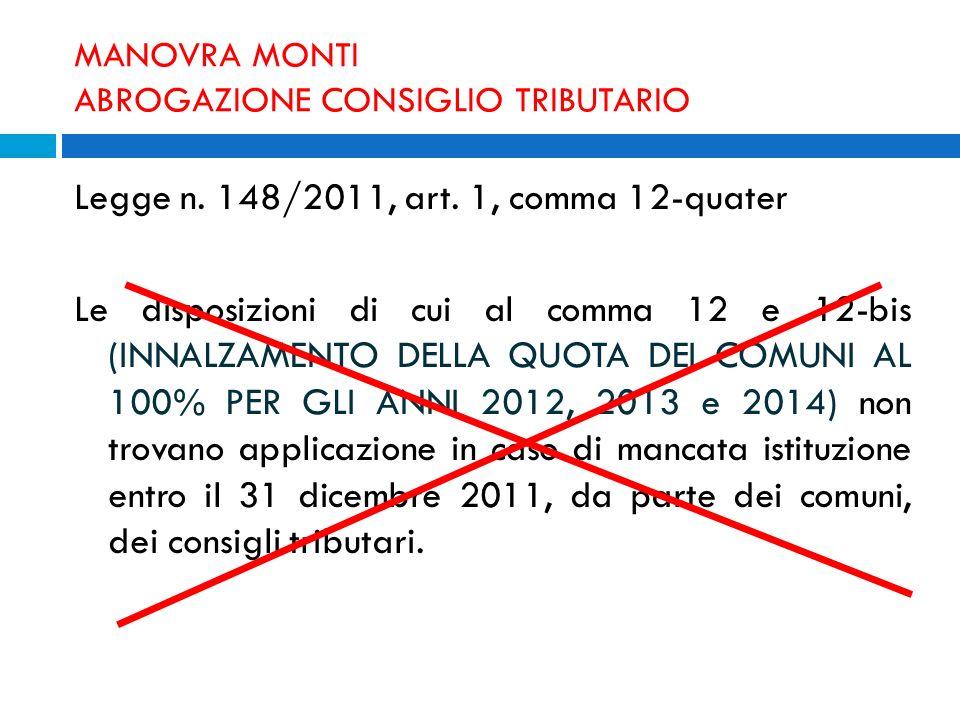 MANOVRA MONTI ABROGAZIONE CONSIGLIO TRIBUTARIO Legge n. 148/2011, art. 1, comma 12-quater Le disposizioni di cui al comma 12 e 12-bis (INNALZAMENTO DE