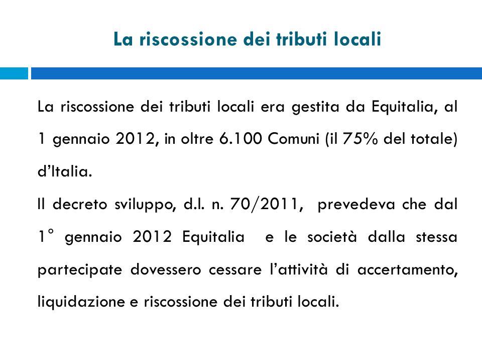 La riscossione dei tributi locali La riscossione dei tributi locali era gestita da Equitalia, al 1 gennaio 2012, in oltre 6.100 Comuni (il 75% del tot