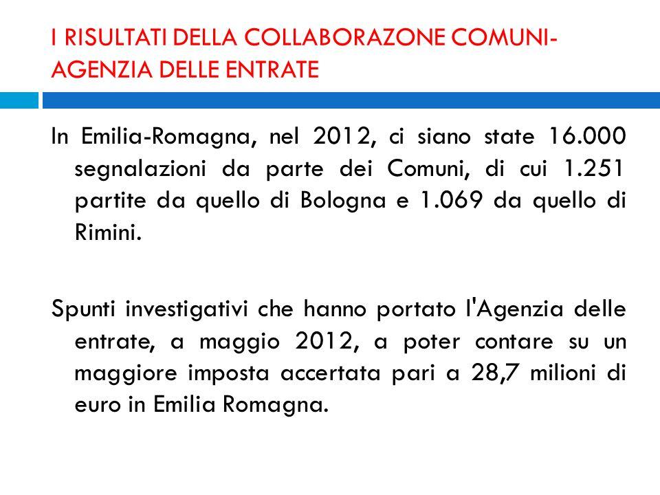 I RISULTATI DELLA COLLABORAZONE COMUNI- AGENZIA DELLE ENTRATE In Emilia-Romagna, nel 2012, ci siano state 16.000 segnalazioni da parte dei Comuni, di