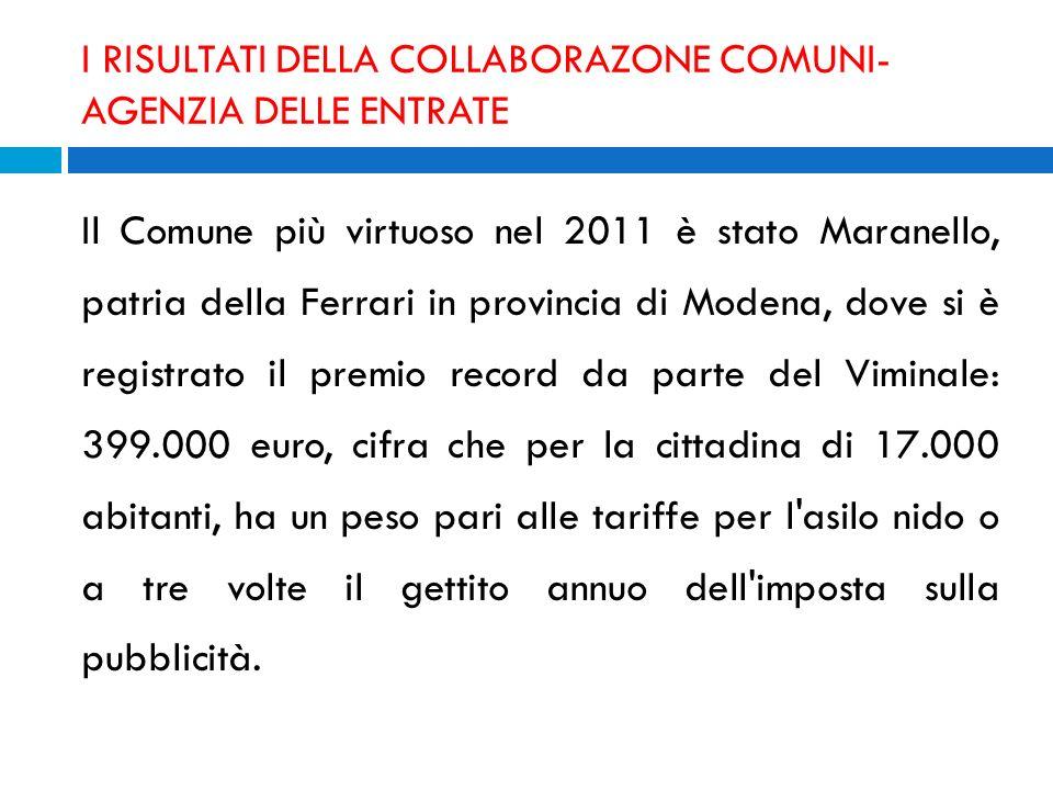 I RISULTATI DELLA COLLABORAZONE COMUNI- AGENZIA DELLE ENTRATE Il Comune più virtuoso nel 2011 è stato Maranello, patria della Ferrari in provincia di