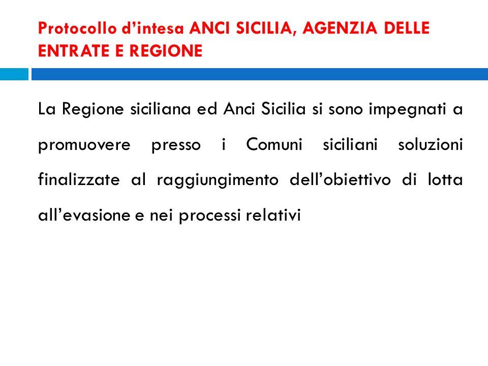Protocollo dintesa ANCI SICILIA, AGENZIA DELLE ENTRATE E REGIONE La Regione siciliana ed Anci Sicilia si sono impegnati a promuovere presso i Comuni s