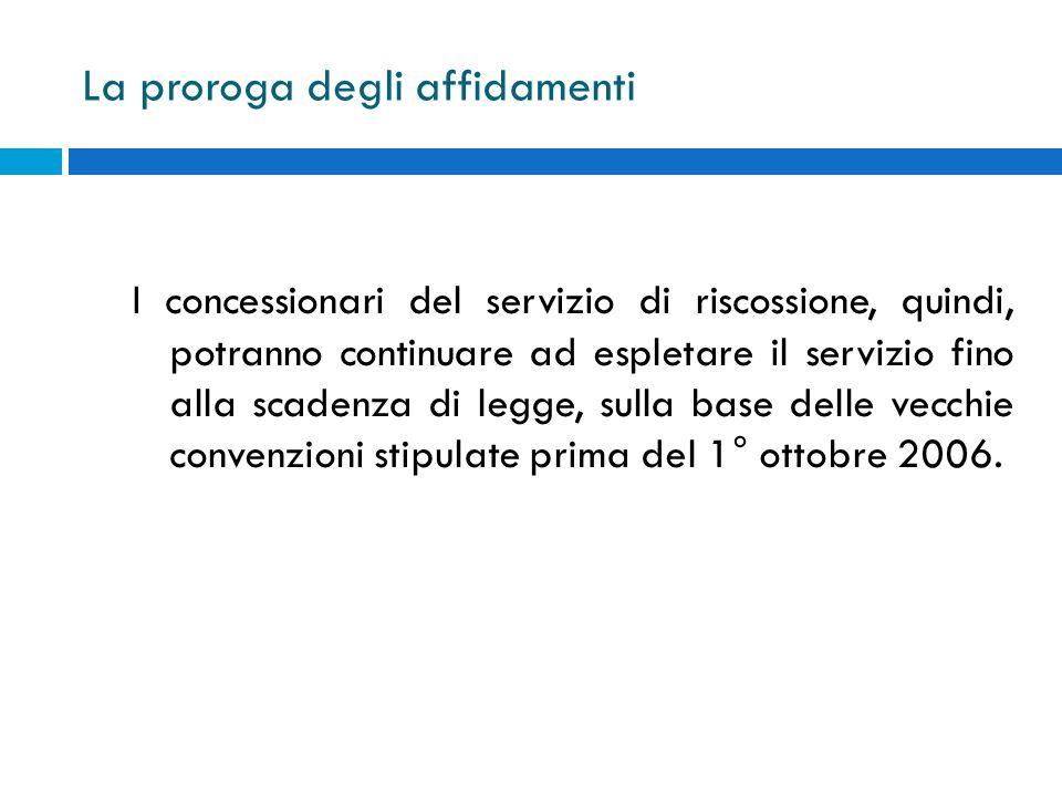 La proroga degli affidamenti I concessionari del servizio di riscossione, quindi, potranno continuare ad espletare il servizio fino alla scadenza di l