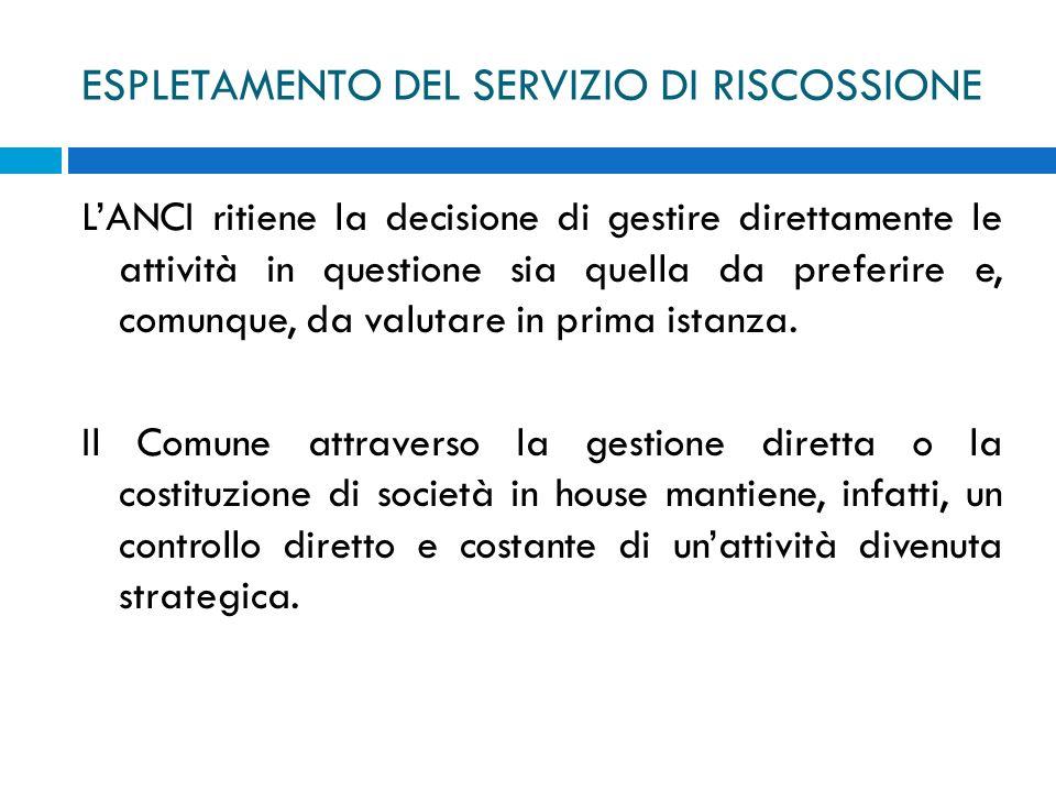 ESPLETAMENTO DEL SERVIZIO DI RISCOSSIONE LANCI ritiene la decisione di gestire direttamente le attività in questione sia quella da preferire e, comunq
