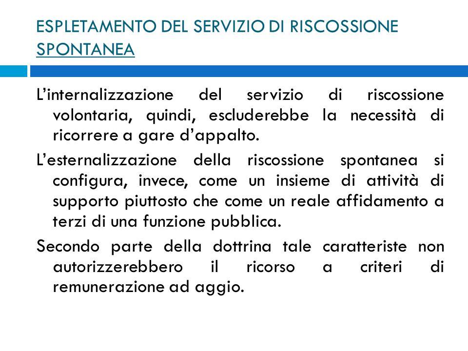 ESPLETAMENTO DEL SERVIZIO DI RISCOSSIONE SPONTANEA Linternalizzazione del servizio di riscossione volontaria, quindi, escluderebbe la necessità di ric