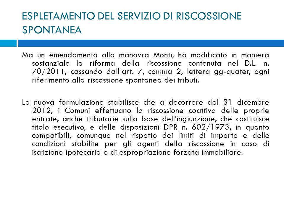 ESPLETAMENTO DEL SERVIZIO DI RISCOSSIONE SPONTANEA Ma un emendamento alla manovra Monti, ha modificato in maniera sostanziale la riforma della riscoss
