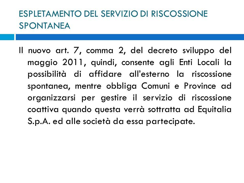 ESPLETAMENTO DEL SERVIZIO DI RISCOSSIONE SPONTANEA Il nuovo art. 7, comma 2, del decreto sviluppo del maggio 2011, quindi, consente agli Enti Locali l