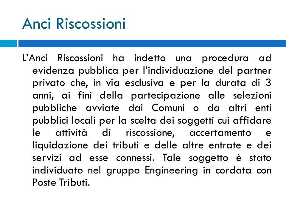 Anci Riscossioni LAnci Riscossioni ha indetto una procedura ad evidenza pubblica per lindividuazione del partner privato che, in via esclusiva e per l