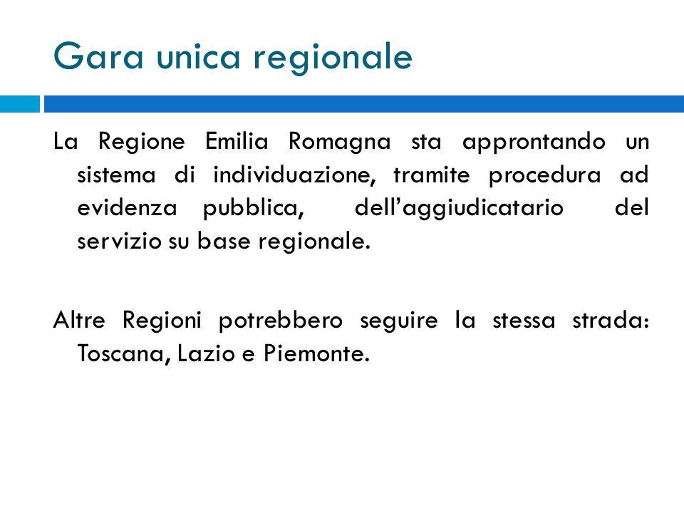 Gara unica regionale La Regione Emilia Romagna sta approntando un sistema di individuazione, tramite procedura ad evidenza pubblica, dellaggiudicatari