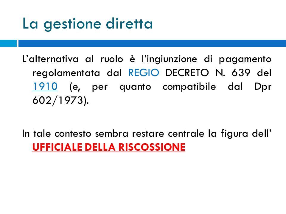 La gestione diretta Lalternativa al ruolo è lingiunzione di pagamento regolamentata dal REGIO DECRETO N. 639 del 1910 (e, per quanto compatibile dal D