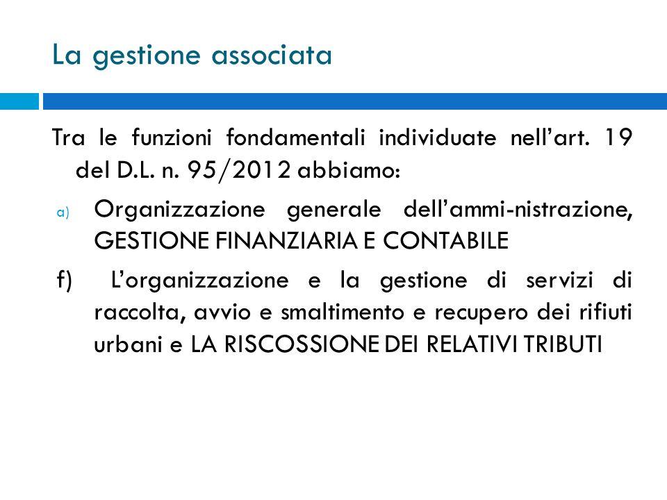 La gestione associata Tra le funzioni fondamentali individuate nellart. 19 del D.L. n. 95/2012 abbiamo: a) Organizzazione generale dellammi-nistrazion