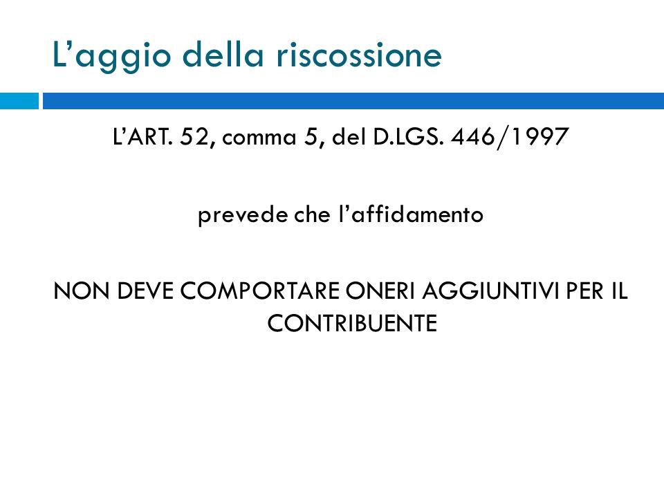 Laggio della riscossione LART. 52, comma 5, del D.LGS. 446/1997 prevede che laffidamento NON DEVE COMPORTARE ONERI AGGIUNTIVI PER IL CONTRIBUENTE