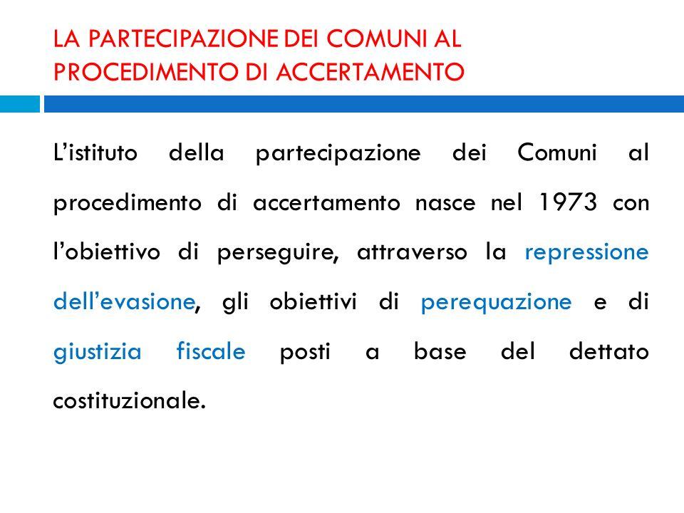 LA PARTECIPAZIONE DEI COMUNI AL PROCEDIMENTO DI ACCERTAMENTO Listituto della partecipazione dei Comuni al procedimento di accertamento nasce nel 1973