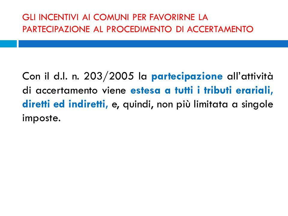 GLI INCENTIVI AI COMUNI PER FAVORIRNE LA PARTECIPAZIONE AL PROCEDIMENTO DI ACCERTAMENTO Con il d.l. n. 203/2005 la partecipazione allattività di accer
