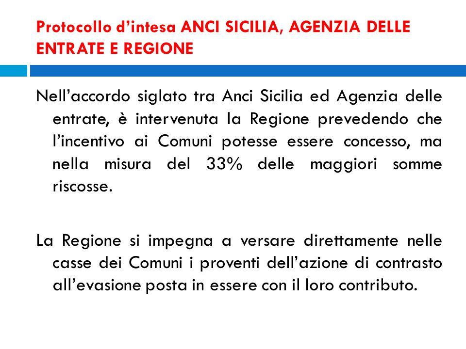 Protocollo dintesa ANCI SICILIA, AGENZIA DELLE ENTRATE E REGIONE Nellaccordo siglato tra Anci Sicilia ed Agenzia delle entrate, è intervenuta la Regio