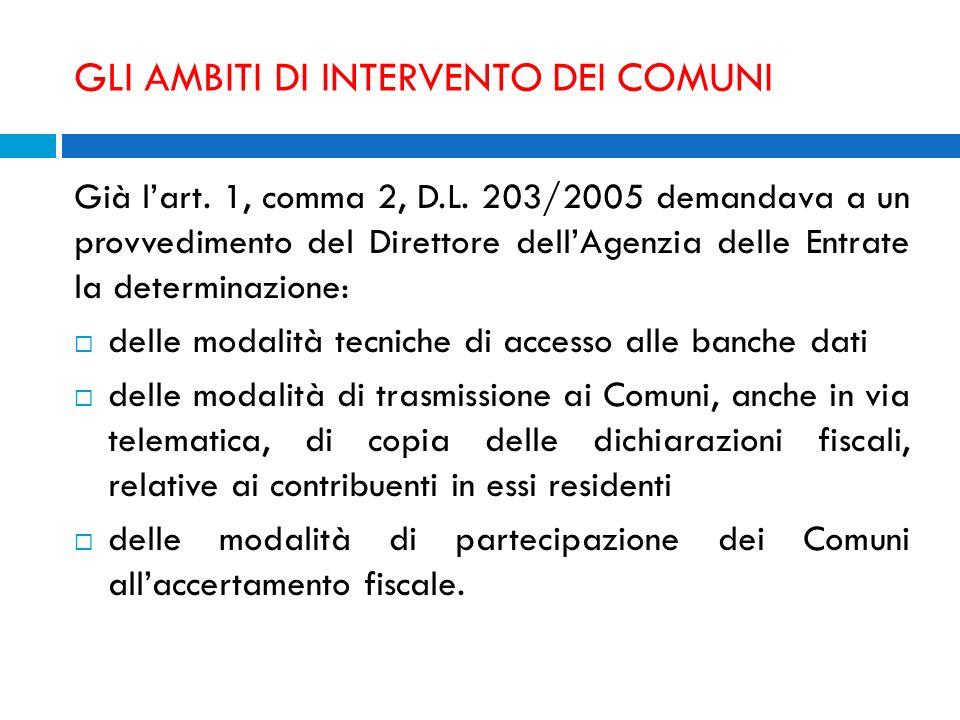 GLI AMBITI DI INTERVENTO DEI COMUNI Già lart. 1, comma 2, D.L. 203/2005 demandava a un provvedimento del Direttore dellAgenzia delle Entrate la determ