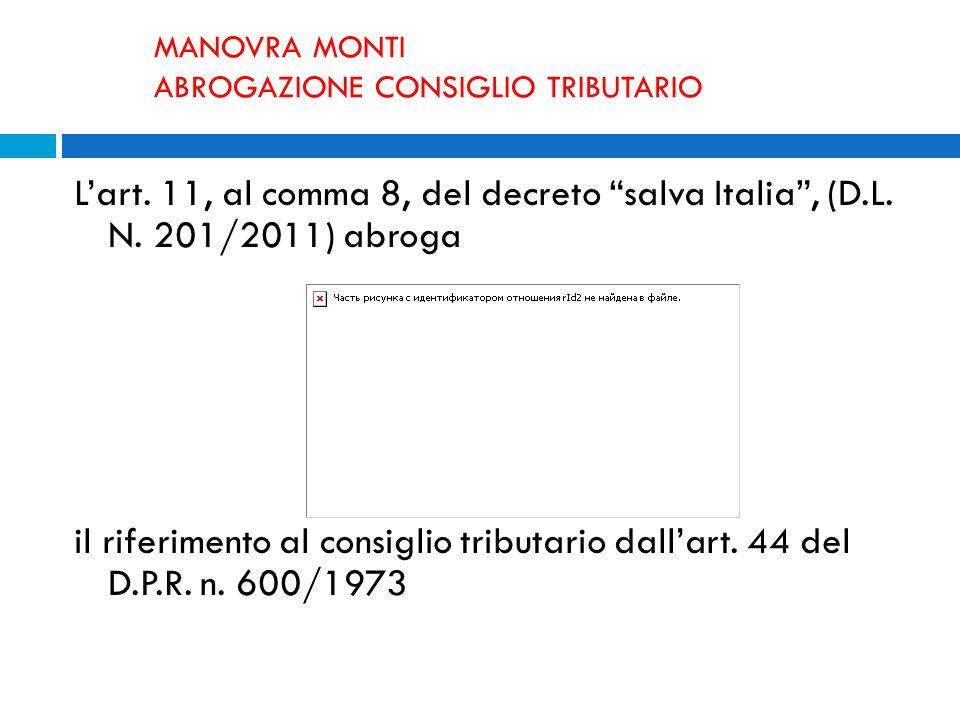 MANOVRA MONTI ABROGAZIONE CONSIGLIO TRIBUTARIO Lart. 11, al comma 8, del decreto salva Italia, (D.L. N. 201/2011) abroga il riferimento al consiglio t