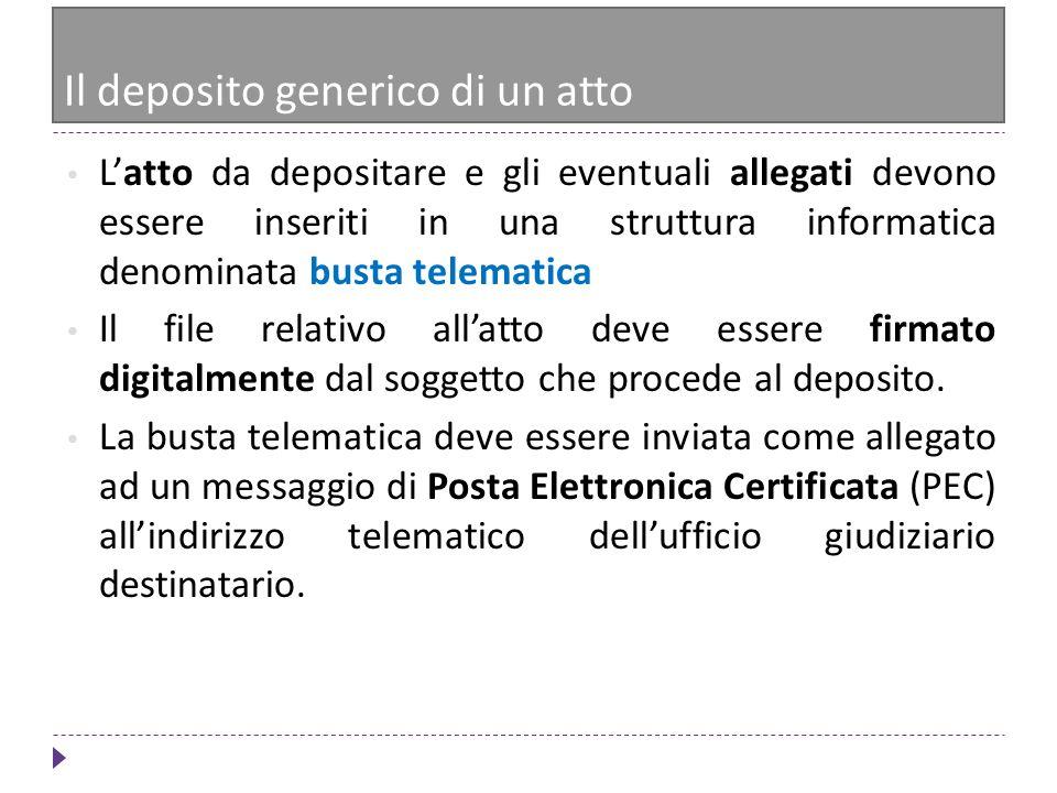 Il deposito generico di un atto Latto da depositare e gli eventuali allegati devono essere inseriti in una struttura informatica denominata busta tele