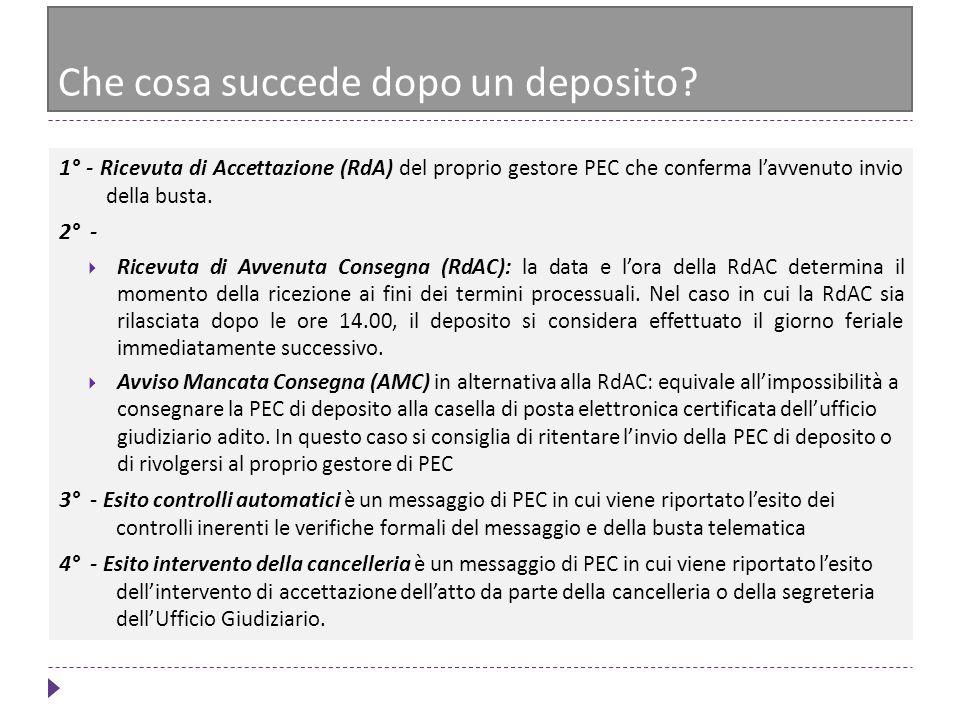 1° - Ricevuta di Accettazione (RdA) del proprio gestore PEC che conferma lavvenuto invio della busta. 2° - Ricevuta di Avvenuta Consegna (RdAC): la da
