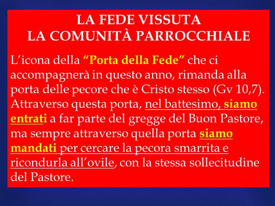 LA FEDE VISSUTA LA COMUNITÀ PARROCCHIALE Licona della Porta della Fede che ci accompagnerà in questo anno, rimanda alla porta delle pecore che è Crist