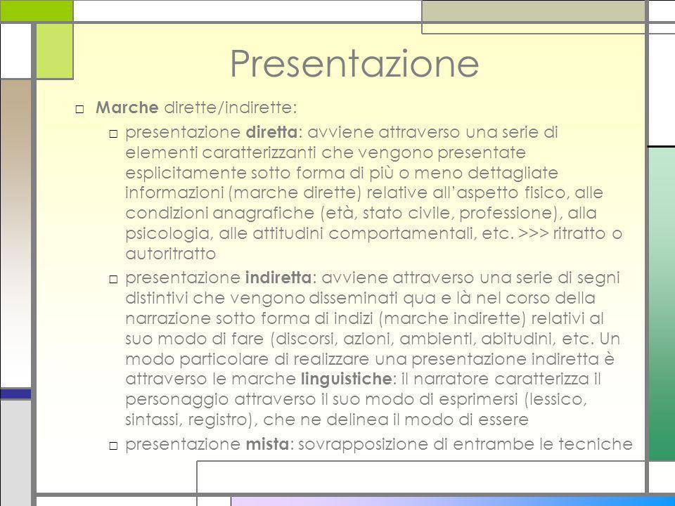 Presentazione Marche dirette/indirette: presentazione diretta : avviene attraverso una serie di elementi caratterizzanti che vengono presentate esplic
